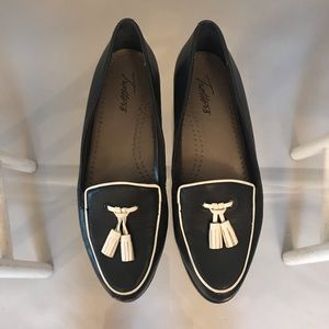 Trotters Navy and White Tassel Loafers